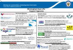 B'ham East Support agencies